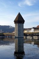 Water tower in Lucerne in Switzerland, in the middle of Chapel Bridge.