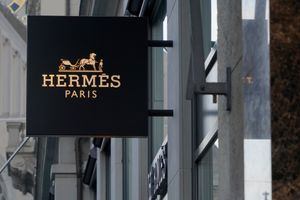 Shield of Hermes boutique, French luxury goods manufacturer, in downtown of Zurich in Switzerland.