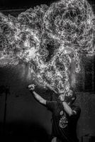 Firebreather in black and white