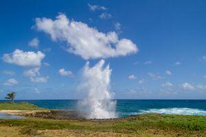 Geyser from water splashes