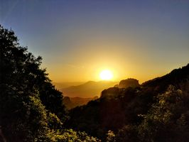Sunset in the greek mountains