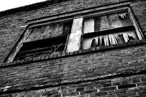 Photo of a black and white window structure.
