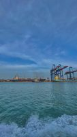 Port under blue sky