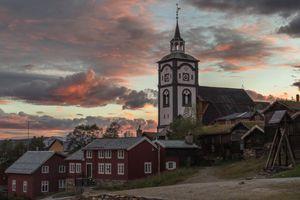 Røros church in evening