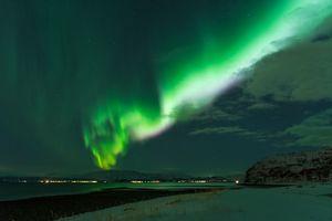 Northern lights Finnmark Kviby seashore