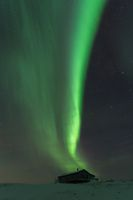 Northern lights Finnmark Norway above a cabin