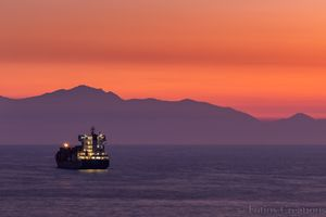 A ship in the sunset