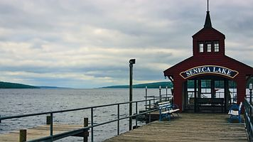 Looking north from the south end of Seneca Lake in New York state, USA