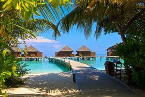 Peaceful beach scene on an island