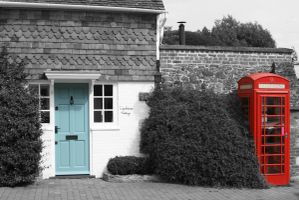 Blue door red telephone box