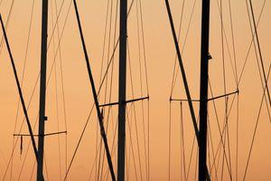 Sunset at Koege Marina - golden masts