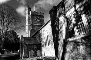 Parish Church of St Cyr and Julitta - side view - mono
