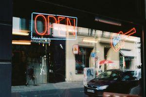 Neon sign in window