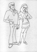 Freddy Jones and Daphne blake (simple linework)