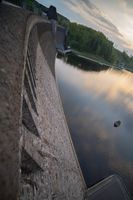 Dam wall and lake