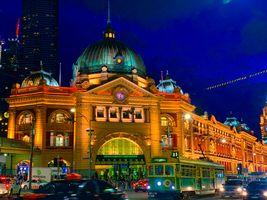 Flinders Street Station at night before pandemic