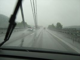 Drive on freeway in rainy day