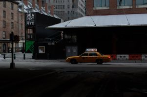 Yellow cab taxi in Lower East Side, Manhattan, New York City