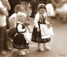 Little Hungarian girls in traditional costume