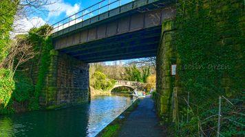 Salterhebble Railway Bridge and Wakefield Road Bridge Beyond. The Calder & Hebble