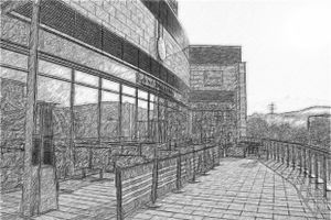 Pizza Express and the Percy Shaw, Halifax. (Pencil)