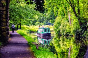 Narrowboat on the Calder & Hebble Navigation.