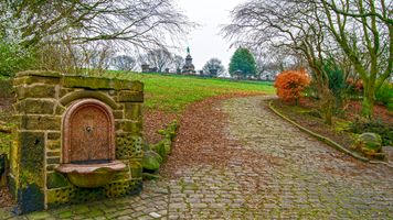 Drinking Fountain and Cobbled Path at West View Park, Halifax