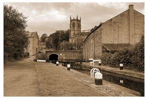 Lock 2, Tuel Lane Tunnel, Christ Church and the Rochdale Canal, Sowerby Bridge
