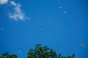 Sky of paragliders