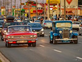 1960 Chevrolet & 1930s Chevy hot rod cruising on Mountain Road