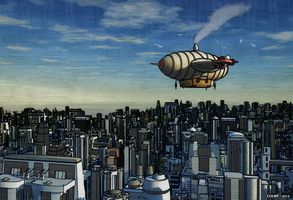 Airship Flying Over a Future City