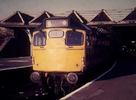 27012 waiting to depart Dundee with the 1828 to Edinburgh Waverley on 12aug84 - Steven Grant