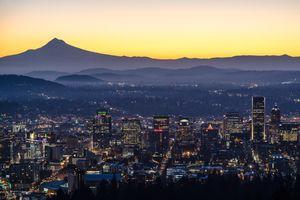 Sunrise- Portland Oregon and Mt Hood