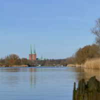 Lübeck Cathedral viewed from the Canal