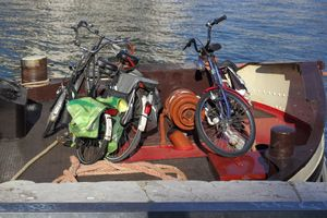4 bikes on a boat