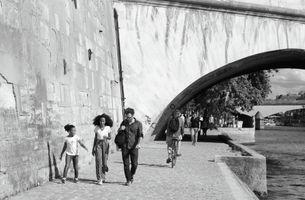People on the riverwalk