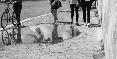 Skirting a puddle