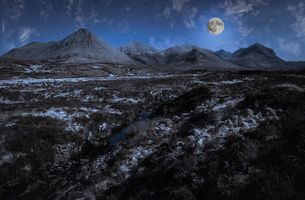 Manipulated View Towards The Red Cuillin Mountain Range, Isle of Skye, Scotland