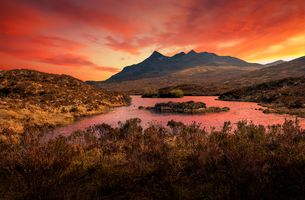 Sunrise View of the Black Cuillin Mountains from the A863 near Sligachan, Isle of Skye, Scotland