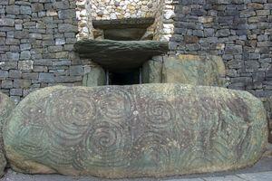 Stone Age Art at Entrance to Newgrange Neolithic Passage Tomb, Boyne Valley, Ireland