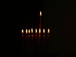 Chanukah candles on street corners