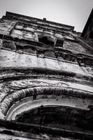 Bell tower of a basilica destroyed by war and storm