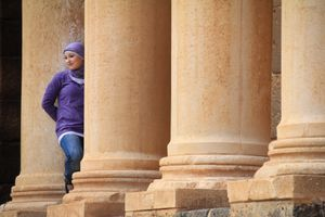 A cute Syrian girl in the Bosra amphitheater