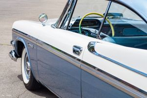 Blue and white 1957 Dodge Coronet - Side View - Antique Car
