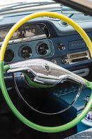1957 Dodge Coronet Car Interior - Vintage Steering Wheel and Car Dash