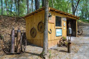 Blacksmith shop and wagon wheels