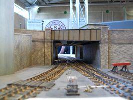 Dewsbury Central railway station, looking towards Leeds Road bridge and the, 213 yard, Leeds Road tunnel