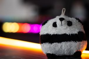 Panda Toy with Bokeh Balls