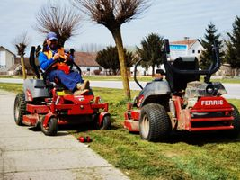 Mowing machinery in action