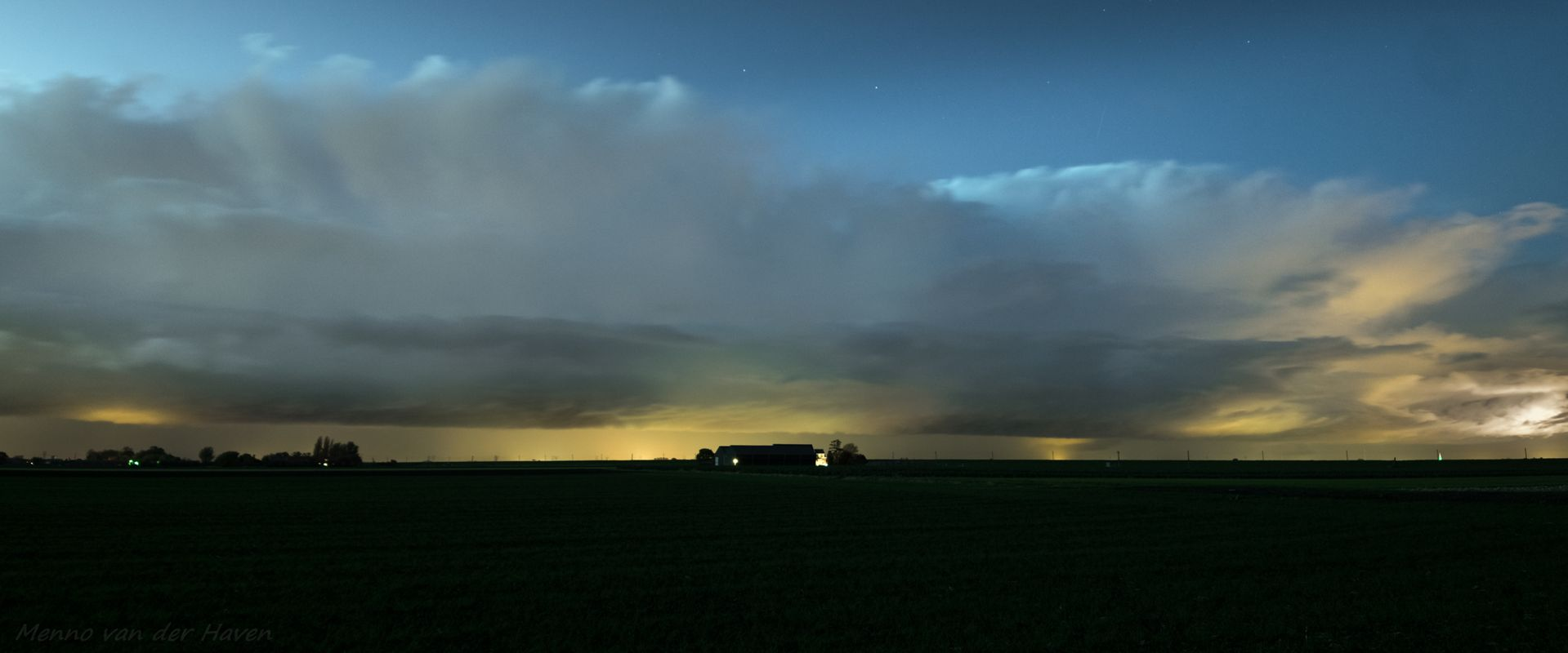 Panorama of autumn showers along the shore